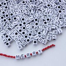 Pop 100PCS 6mm Square Alphabet Letters Bead Pearls for Bracelet Necklace Jewelry