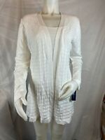 Karen Scott Women's Medium Pattern Bright White Cardigan Duster Sweater NEW #66