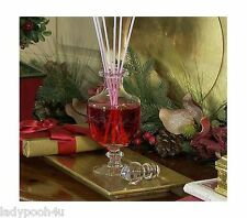 Etched Glass Holiday Fragrance Reed Diffuser by Valerie Red Christmas Cranberry