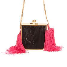 RRP €1485 ALESSANDRA RICH Leather Mini Minaudiere Bag Lizard Pattern Tassels