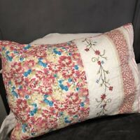 MaryJane Home 2 Quilted Pillow Shams Standard Embroidered Floral Cotton Cottage