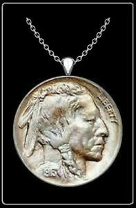 """INDIAN HEAD NICKEL Necklace - silver us vintage buffalo coin pendant jewelry 24"""""""
