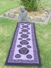 TRIQUETRA PURPLE COTTON YOGA MAT WITH CELTIC BORDER Wicca Witch Pagan Yoga