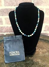 """~""""HONORA"""" BAROQUE PEARL NECKLACE STERLING SILVER CLASP KNOTTED TEAL AQUA LAVENDR"""