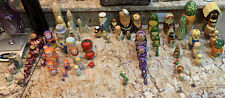 VINTAGE HANDCRAFTED &  PAINTED NESTING DOLLS Rare Complete And Parts Rare 81 Pcs