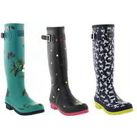 Joules Welly Print Tall Wellington Boots Womens Blue Wellies