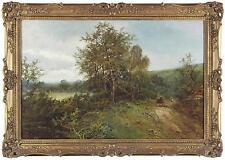William Langley Antique Large Peinture à l'huile Pays bois chiffres signé