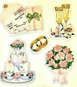 *RARE*   GLITTERY WEDDING CAKE + Sandylion Stickers- 3 squares   ~NOT IN PRINT~