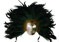 Maschera Di Venezia Viso Volto A Piume Gallo Dorata Verde 1630