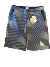 Forever Collectibles MLB Mens Los Angeles Dodgers Diagonal Stripe Walking Shorts