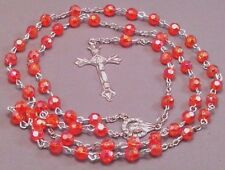 Rosary Necklace 6mm AB Faceted Bead Silver Tone Crucifix Center RED Last One!