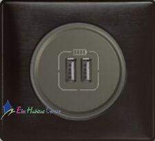 Doble coja Cargador USB Céliane carbono grafito 67462+67956+80251+68981