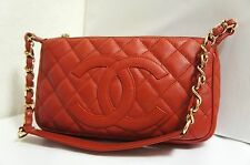 CHANEL Red Caviar Leather CC Logo Small Shoulder Bag with Gold Chain A144