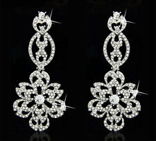 Fashion 18K Gold Plated Shiny Full Rhinestone Crystal Party Evening Earring