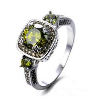 Handmade Multi Stones Olive Peridot Gemstone Vingate Silver Woman Ring Size 6-10