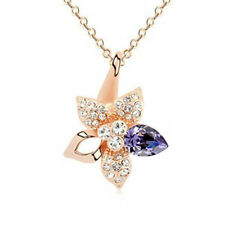 GORGEOUS 18K GOLD PLATED GENUINE PURPLE AUSTRIAN CRYSTAL & CZ FLOWER NECKLACE