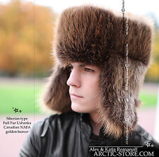 Hunter Men Natural Brown Beaver Ushanka Full Fur Hat Chapka Mountain Winter Cold