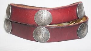 US Walking Liberty Silver Half Dollar Western Leather BELT Size 32-38 10 coins