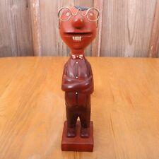 """Vintage 12"""" Tall  Wood Man With Glasses Figurine"""