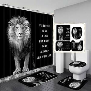 Fashion_Man 4PCS/Set African Lion Black Shower Curtain Majestic Brave Lion Ki...