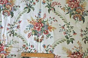 """Vintage Linen/Rayon Mix Fiber Floral Bouquet Fabric c1995~L-45"""" X W-59"""""""