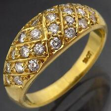 Sparkling Dome 18k Solid Yellow GOLD 25 Scattered DIAMOND ETERNITY RING Sz N1/2