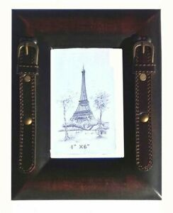 Equestrian style worn vintage leather look 6 x 4 inch photo frame with straps