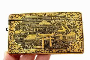 Meiji Japanese Mixed Metal Komai Style Card Case Holder Chrysanthemum Damascene