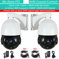 2 PTZ 36x Zoom Coax Control AHD 1080P Outdoor CCTV Security Night Vision Camera