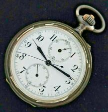 Antique Longines Chronograph Manual Wind Pocket Watch Swiss + .900 Silver Case