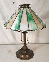 ANTIQUE ART NOUVEAU ART DECO LEADED STAINED GLASS LAMP WITH DOUBLE SOCKETS