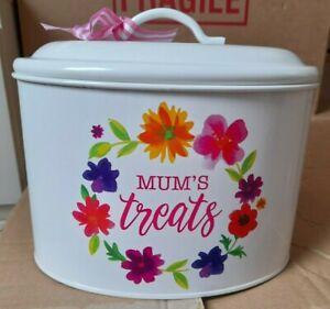 Mums Treat Tin Oval lidded cream floral design