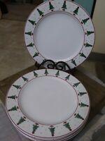 "Sakura Magic Of Santa 11"" Dinner Plates designed by Debbie Mumm Set of 5"
