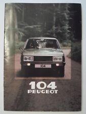 PEUGEOT 104 HATCHBACK orig 1980 UK Mkt Sales Brochure - GL GR SR S