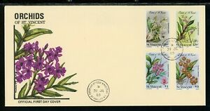 St. Vincent Scott #803-806 FIRST DAY COVER Orchids Flowers FLORA $$