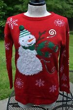 TIARA XL Red Fuzzy Snowman Christmas Holiday Party Acrylic Sweater ugly tacky
