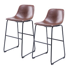 New listing Set of 2 Brown Pu Leather Bar Stools /Back and Footrest for Kitchen Office Pub