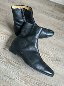 BALLY Men's black supple leather zip up ankle boots UK 6 WIDE FIT or 7 REG