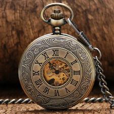Bronze Roman Numbers Men Women Mechanical Hand Wind Pocket Watch FOB Chain Gift