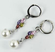 Women's White Gold Plated Pearl and Multi Colour Crystal Dangle Earrings