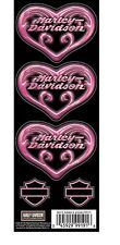 Harley Davidson bike motorcycle decal sticker heart pink swirl set of 5 shield