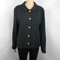 Vintage Castleberry Textured Knit Jacket Blazer Size 14 Black Made in USA