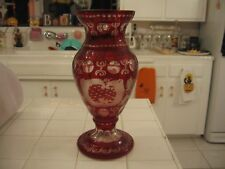 Beautiful Vintage Bohemian Ruby Red Cut Crystal to Clear Large Tall Vase