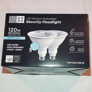 Kodo 120w Equivalent PAR38 LED Motion Sensor Flood Light Bulb Daylight (2 PACK)