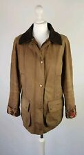 L463 WOMENS BARBOUR TAN BROWN WAX COTTON PRINTED BEADNELL JACKET, UK 12