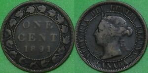 1891 Canada Large Date and Large Leaves Penny Graded as Very Good