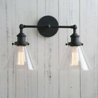 Vintage Industrial 2-Light Wall Sconce Double Funnel Glass Shades Lamp Fixture