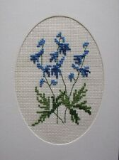 Completed cross stitch card-Larkspur