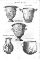 Stampa antica VASI ETRUSCHI con Soggetti Mitologici 1848 Old print