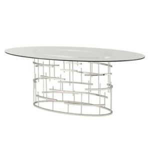 """77"""" L Oval Dining Table Polished Stainless Steel Geometric Base Tempered Glass"""